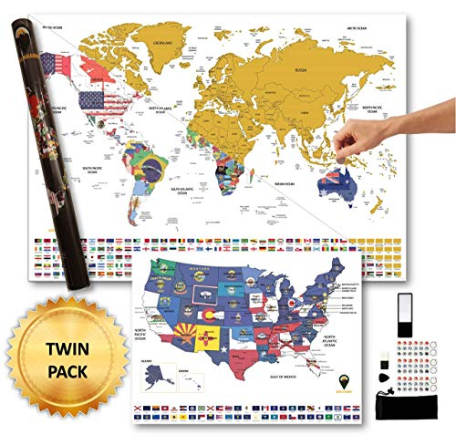 Scratch Off World Map XXL with Bonus A3 USA map - GLOBAL WALKABOUT- Country/State Flags Under Scratch Off Areas – Countries, Facts and Accessories – Travel Gift (White)