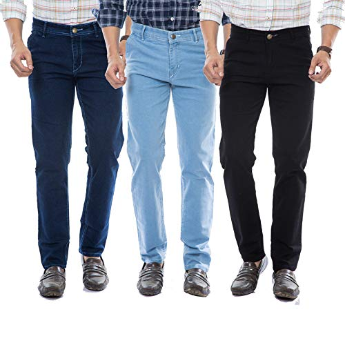 Moudlin Slimfit Black,Darkblue,SkyBlue Stretchable Combo Pack of 3 Jeans_38 for Men