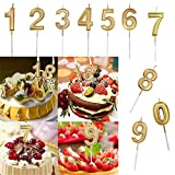 Moent Women Clothes Wohnkultur Gold Nummer 0-9 Geburtstag Ziffer Kerzen Nummer Kuchen Dekor für Erwachsene/Kinder Party Kerzen Nummer Raumdekor