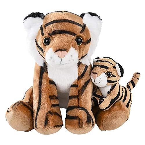 The Dreidel Company Plush Tiger with Baby Tiger Cub, Safari Animal, Birth of Life Wildlife Plush Toy, 8