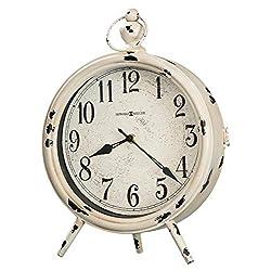 Howard Miller Saxony Mantel Clock 635-214 – Distressed Antique White Finish, Aged Metal, Black Arabic Numerals, Glass Crystal, Antique Home Décor, Quartz Movement