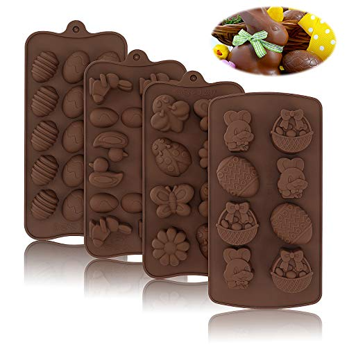 4 Packs Easter Silicone Mold Chocolate Candy Easter Egg Bunny Duck Flower Insect Molds for Party Jelly Ice Cube Home Baking Cupcake Decorations Holiday Gift, 45 Cavities in Total