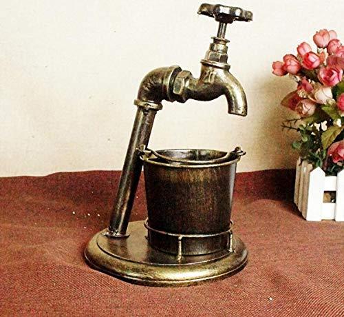 Coolshopy Vintage Cenicero Forjado Hierro del hogar Artesanía Bares Cigarrillos cenicero Decoración (24 * 16 * 16 cm) de Color Bronce