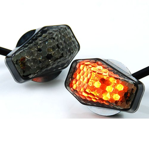 15 Amber LED Flush Mount Smoke Turn Signal Indicator Blinker Light Universal For Motorcycle Sport Street Racing Bike