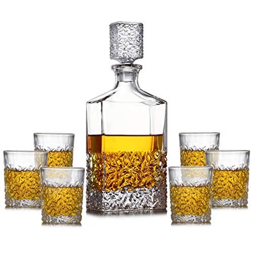 DECANTER Set Whisky di Cristallo Premium, liquore a Mano con 6 Bicchieri antiquato per Scotch, Regalo dell'uomo (Color : Transparent, Size : 31 * 12cm)