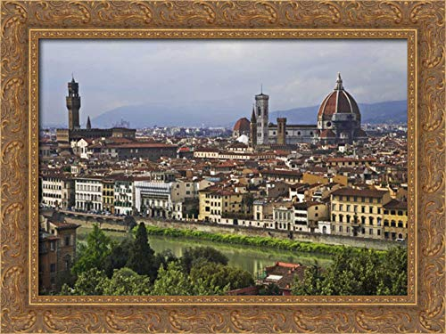 Flaherty, Dennis 24x17 Gold Ornate Framed Canvas Art Print Titled: Italy, Florence City as seen from The Overlook