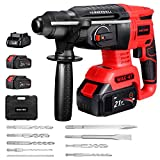 Rotary Hammer Drill, WAKYME SDS-Plus 1/2 inch 21V Cordless Demolition Hammer with 1400RPM,...