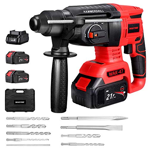 WAKYME 3 in 1Hand Electric Drill, Cordless Hammer Impact Drill Rotary Hammer Kit with Two LI-Ion Batteries 4000mAh, 21V, 360 Degree Rotatable Side Handle