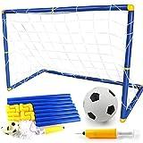 Shuxinmd Football Entrainement But de Foot Support de Football Jouet de Formation Soccer Cage Portable avec Boule Filet Pompe pour Intérieur et Extérieur