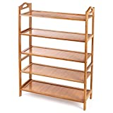 HOMFA Bamboo Shoe Rack 5-Tier Entryway Shoe Shelf Storage Organizer Free Standing Shelves