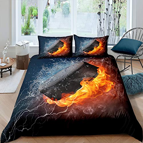 Homewish Ice and Fire Bedding Set 2pcs for Kids Boys Teens Sports Theme Comforter Cover Burning Hockey Puck Duvet Cover Set Microfiber Bedspread Cover with 1 Pillow Case(No Comforter) Twin Size