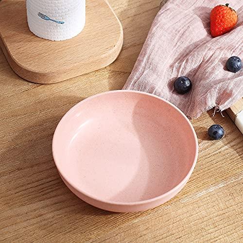 PPuujia Estilo japonés Color sólido paja de trigo para el hogar snack plato de sushi mesa de comedor plato de basura Accesorios de cocina (color: rosa (solo))