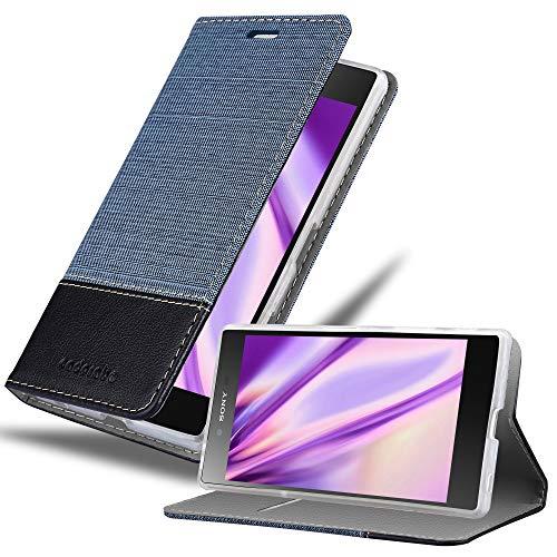 Cadorabo Hülle für Sony Xperia Z5 Premium - Hülle in DUNKEL BLAU SCHWARZ – Handyhülle mit Standfunktion & Kartenfach im Stoff Design - Hülle Cover Schutzhülle Etui Tasche Book