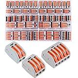 60Pcs Compact Connettore, Leva-Dado Cavo Connettore Set, Conduttore Compatto Connettore, Morsettiera Connettore Molla, Morsettiera Cavo Connettore Rapido 2 Porte 3 Porte 5 Porte