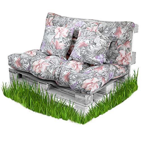BCASE Pack Faserpalettenkissen + Rückenkissen für gepolsterte Paletten, Gefülltes Kissen, Beinhaltet Rückenlehne und Sitzkissen, Ideal für Garten, Tropical Grey