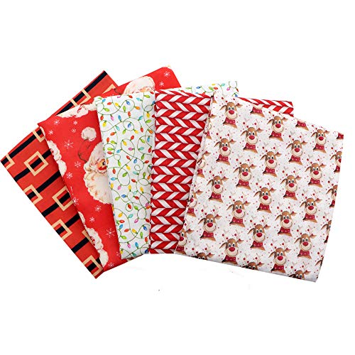 David Angie Christmas Theme Polyester Cotton Fabric Set Santa Claus Printed Craft Fabric 5pcs 19x55 inch (50 x 140cm) for Patchwork Sewing DIY Projects (Pattern B)