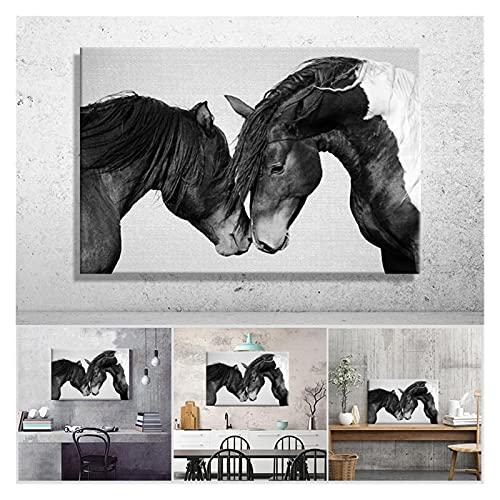 LTGBQNM Caballos Blanco y Negro Imagen Decoración para el hogar Lienzo nórdico Pintura Arte de la Pared Pósters e impresión 20x28inchx1 Sin Marco