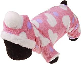 Wicemoon 1pcs Ropa para Perros Pequeños Invierno Suave Perro para Mascotas Rosa Amor Corazón Mono Pijamas S 22cm