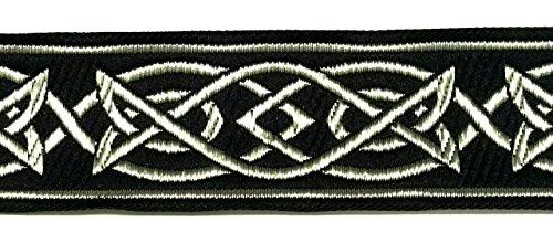 10m Keltischer Borte Webband 35mm breit Farbe: Schwarz-Silber präsentiert von 1A-Kurzwaren MG05-swsi-35