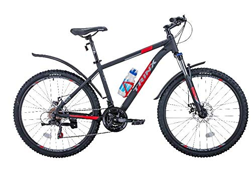Trinx Mountain Bike 26' Shimano 21-Speed with Mudguard,Bottle, Saddle Bag,Lock,Tool. M136 New (Black/Red, 19')