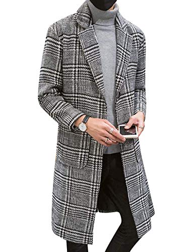 Uaneo Men's Casual Notch Lapel Single Breasted Plaid Mid Long Trench Pea Coat (Gray, Small)
