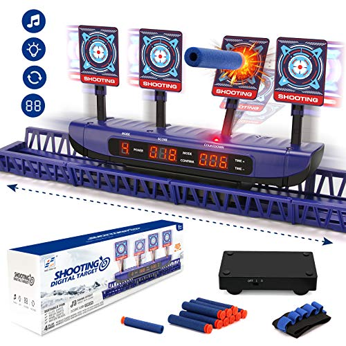 Moving Targets for Nerf Guns - Auto Reset Electronic Scoring Shooting Digital Targets, 4 modes Shooting Games Sniper Toys for Boys - Ideal Toys Gift for Kids Age of 5,6,7,8,9,10 Years Old Boys & Girls