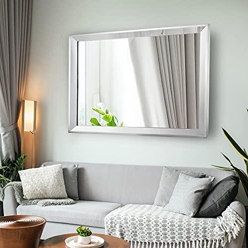Chende Specchio grande da parete, specchio decorativo da bagno, con cornice in acciaio inox,...