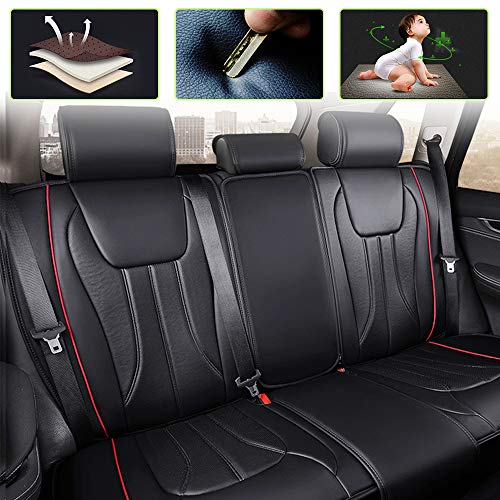 8X-SPEED Auto-Sitzbezüge für Avenger Durango Dakota Ram 5-Sitzer-Komplettsatz Atmungsaktiv Hochwertiges Leder Autoschonbezüge Schwarz Mit Roter Linie