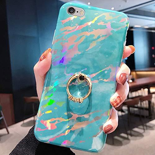Funda para iPhone 6S Plus/6 Plus Carcasa,Motivo Aurora brillo cristal mármol con diamantes anillo Ultra Fina Silicona TPU Carcasa Fundas Skin Cover Rubber Case Caso para iPhone 6S Plus/6 Plus,Azul