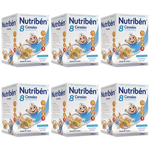Nutribén Papilla 8 Cereales, Sin aceite de Palma ni azucares añadidos - Alimento Para bebés- Desde Los 6 Meses- Pack De 6 unidades x 600 g