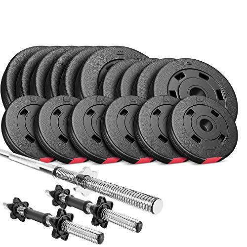 Hop-Sport Hantelset 58 kg, 1x Langhantel, 2X Kurzhanteln, Hantelscheiben 30 mm: 6x5 /4x2,5 /6x1,25kg
