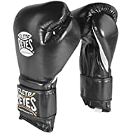 CLETO REYES Hook and Loop Leather Training Boxing Gloves - 18 oz - Black