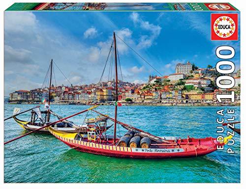 Educa 17196 Quebra-Cabeças/Puzzle de 1000 peças Barcos Rabelos, Porto. Ref, Multicolor