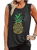 LLHXRUI Mandala Lotus Tank Tops for Women Summer Pineapple Tanks Sleeveless Holiday Graphic Tees Shirts (Dark Grey, Large)