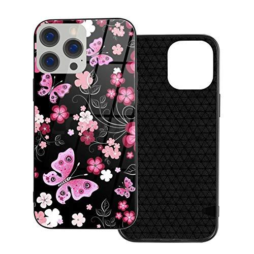 GKAOSPLSR Funda para teléfono compatible con iPhone 12 Series Anti-arañazos marco de vidrio TPU delgado a prueba de golpes funda de protección móvil para iPhone 12-6.1 2020- Negro rojo flor