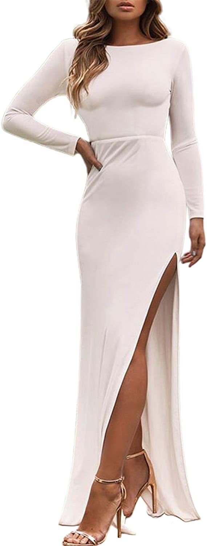 CHARTOU Women's Sexy Crewneck Backless Long Sleeve Split Slim Maxi Long Dress