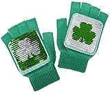 THATSRAD St. Patricks Day Sequin Fingerless Gloves Shamrock Irish Drinking Green