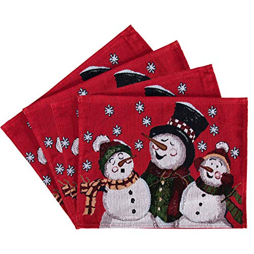 LUSHVIDA Christmas Placemats for Dining Tabale Christmas Happy Snowman Table Mats for Christmas Table Decorations placemats Set of 4