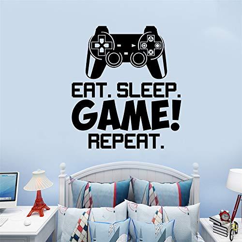 SITAKE Gaming Accessories Pegatinas de pared para dormitorios para niños, 'EAT SLEEP GAME REPEAT' Decoración de pared para habitaciones de niños, 50 × 56 cm