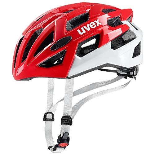 Uvex Unisex– Erwachsene, race 7 Fahrradhelm, red white, 51-55 cm