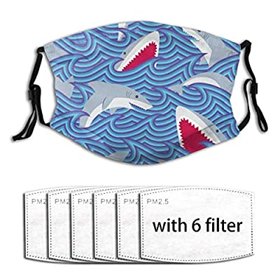 Whale Shark Reusable Activated Carbon Filter Face Shield With 6 Filter Replaceable for Men Women