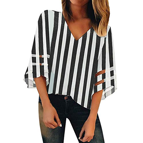 Shinehua blouse dames sexy V-hals 3/4 belmouwen T-shirt top elegant chiffon blouse zomer casual lose tops korte mouwen blousenshirts bovenkant Medium zwart