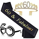 60th Birthday Gifts for Women 60th Birthday Tiara, Sash and Glasses for Women 60th Birthday Party Decoration and Supplies, 3 PCS