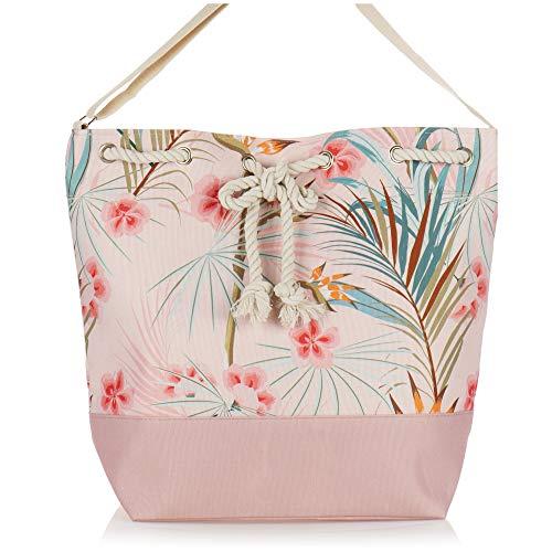 com-four® Große Strandtasche - Moderne Pooltasche für Strandutensilien - Damen-Shopper zum Einkaufen - Umhängetasche für Strand, Pool, Urlaub (pink - floral)