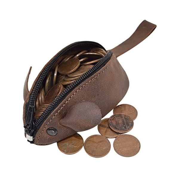 Hide & Drink, Rustic Leather Mouse Coin Purse, Change Pouch, Handmade Includes 101 Year Warranty :: Bourbon Brown