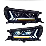 Conjunto de faros delanteros para Toyota HILUX REVO 2015-2020 Bi-Xenon proyector de lente de doble haz Xenon HID Kit con luces LED de circulación diurna