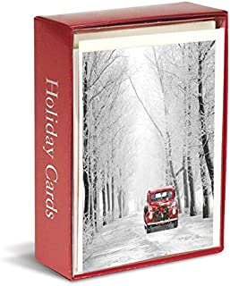 Graphique Red Car in Snow Boxed Cards — 15 Holiday Cards with Red Car in a Snow Forest, Christmas Cards Embellished with Glitter, Includes Matching Envelopes and Storage Box, 4.75