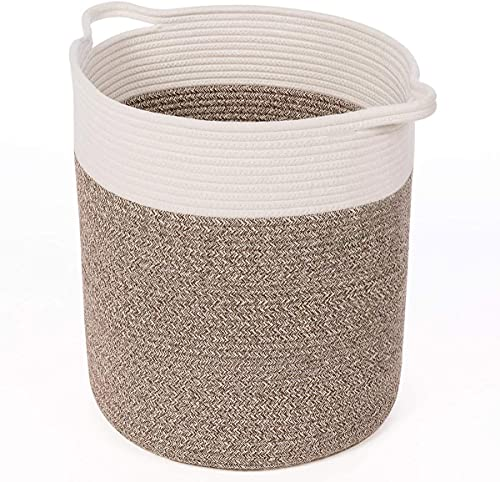 INDRESSME Tall Cotton Rope Basket for Yoga Mat Woven Laundry Basket Toy Storage Bin for Blanket in Living Room Floor 15 x13 inches