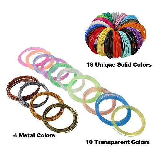 32 Colors 3D Pen PLA Filament Refills, Each Color 10 Feet, Total 320 feet, Pack with 4 Finger Caps by Mika3D