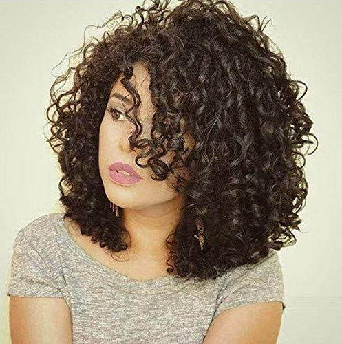 Hetto Cheveux Humain Vrai 100% Perruque #2 Darkest Brown Perruque Lace Front Cheveux Couleur Naturelle 14inch Remy Hair Wig 130% Density Glueless Hair Kinkys Curly Remy Vrai Lace Wig